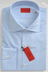 Isaia Shirt White Blue Check 39 - 15 1/2
