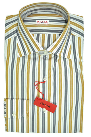 Isaia Dress Shirt White Olive Gray Stripes 40 - 15 3/4 FINAL SALE