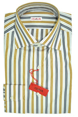 Isaia Dress Shirt White Olive Gray Stripes