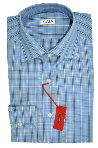 Isaia Dress Shirt Blue Navy Olive Stripes 38 - 15 SALE