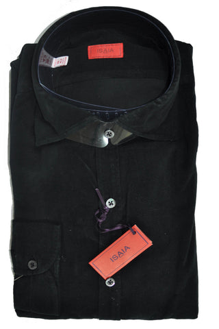 Isaia Corduroy Shirt Cotton Black Sport Shirt 43 - 17 SALE