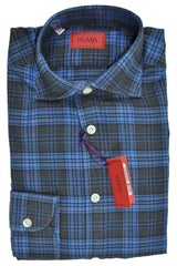 Isaia Shirt Navy Blue Plaid