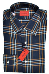 Isaia Shirt Navy Rust Orange White Plaid 38 - 15
