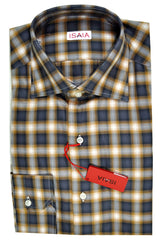Isaia Shirt Gray Copper Plaid Check SALE