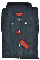 Isaia Sport Shirt Jean Button Down Shirt 41 - 16