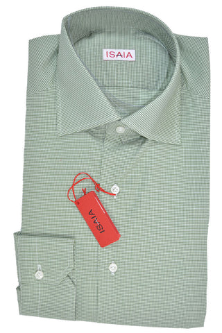 Isaia Dress Shirt White Green Mini Check 39 - 15 1/2 FINAL SALE