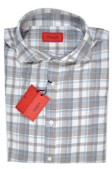 Isaia Button Shirt Cream Plaid Cotton Cashmere