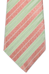 Isaia Tie Pink Chartreuse Silver Stripes SALE