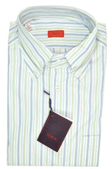 Isaia Button-Down Shirt White Green Navy Stripes 43 - 17 SALE
