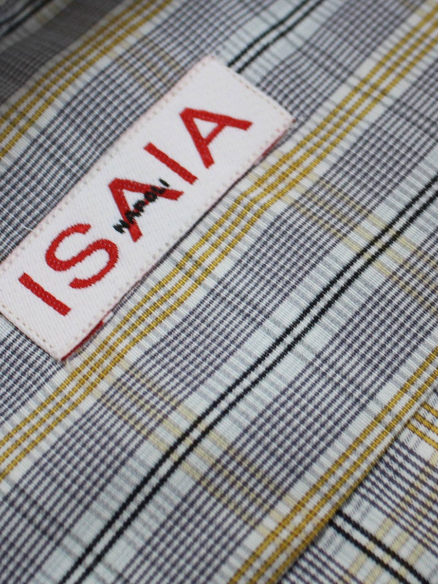 Isaia Dress Shirt White Olive Gray Black Stripes Plaid