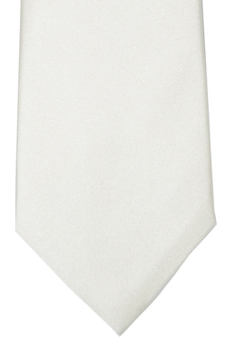 Isaia Sevenfold Tie White Solid SALE