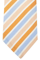 Isaia Tie Peach Copper Blue Stripes
