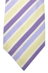 Isaia Tie Lilac White Cream Stripes