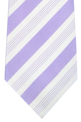 Isaia Silk Tie White Lilac Stripes SALE