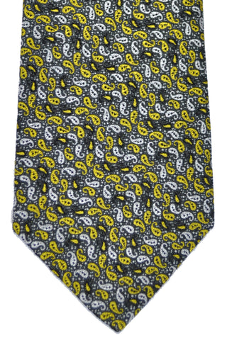 Isaia Sevenfold Tie Black Silver Mustard Paisley SALE