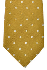 Isaia Sevenfold Tie Olive Green Silver Squares