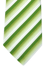 Isaia Sevenfold Tie Green White Silver Stripes