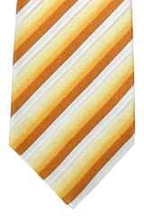 Isaia Tie Caramel Gold Brown White Stripes