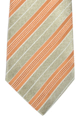 Isaia Tie Cream Silver Peach Stripes