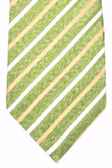 Isaia Tie Green Cream Silver Stripes