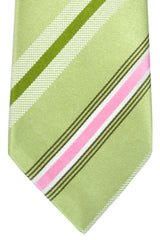 Isaia Tie Green Pink Brown Stripes