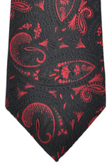 Isaia Tie Black Red Paisley