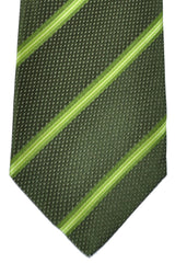 Isaia Sevenfold Tie Forest Green Green Lime Stripes