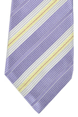 Isaia Sevenfold Tie Lilac Cream White Silver Stripes