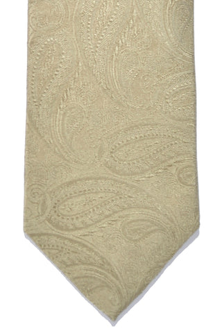Isaia Tie Taupe Paisley FINAL SALE Narrow Necktie