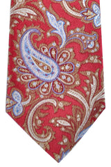 Isaia Silk Tie Red Taupe Paisley SALE