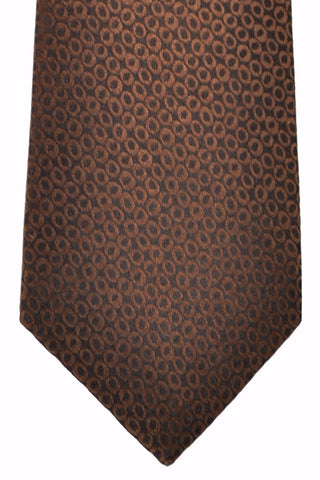 Isaia Silk Tie Brown Ovals Allover