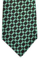 Isaia Silk Tie Dark Brown Mint Geometric
