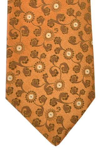 Isaia Silk Tie Peach Brown Floral