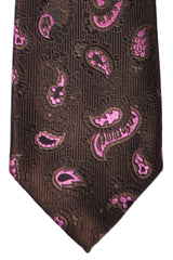 Isaia Sevenfold Tie Brown Pink Paisley SALE