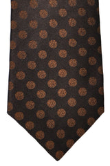Isaia Sevenfold Tie Brown Dots SALE
