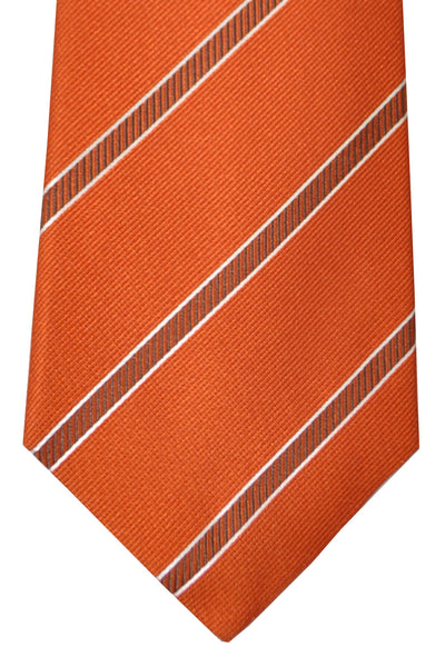 Isaia Tie Orange Stripes
