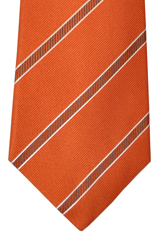 Isaia Tie Rust Orange Stripes FINAL SALE