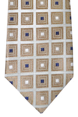 Isaia Tie Gray Silver Taupe Geometric FINAL SALE