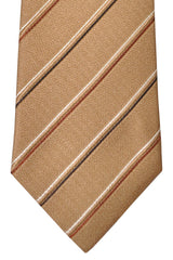 Isaia Tie Taupe Cream Black Silver Stripes