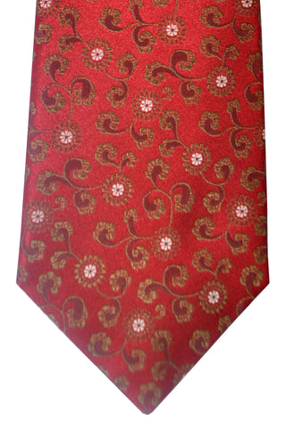 Isaia Tie Dark Red Taupe Floral
