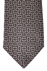 Isaia Sevenfold Tie Brown Silver Geometric
