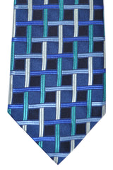 Isaia Sevenfold Tie Navy Turquoise Stripes