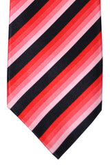 Isaia Sevenfold Tie Black Pink Fuchsia Stripes