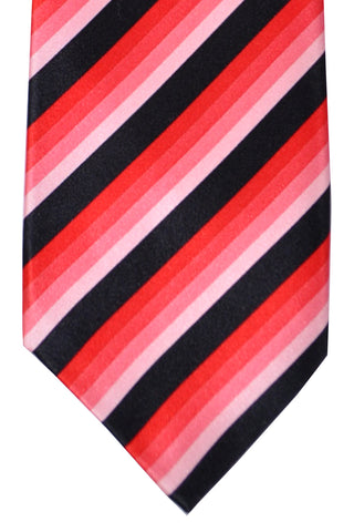 Isaia Sevenfold Tie Black Pink Fuchsia Stripes SALE