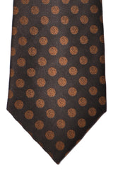 Isaia Sevenfold Tie Brown Copper Polka Dots
