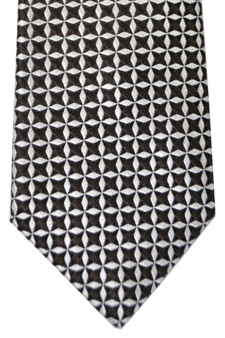 Isaia Tie Chocolate Brown Silver Geometric SALE