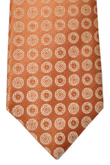 Isaia Tie Peach Gold Geometric