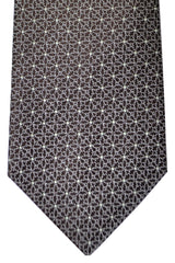 Isaia Tie Dark Brown Silver Geometric
