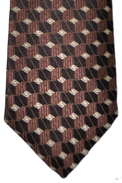 Isaia Sevenfold Tie Brown Geometric
