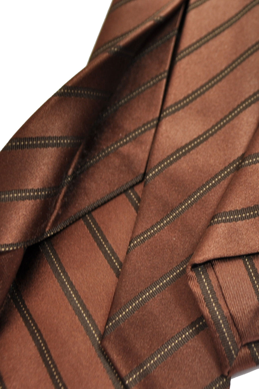 Isaia Sevenfold Tie Brown Stripes